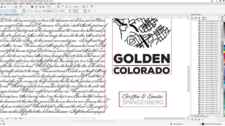 Screenshot des Designs für Ledertagebücher in Corel Draw